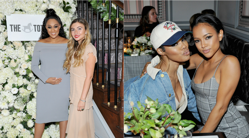 Tia Mowry, Teyana Taylor, and Karrueche Tran attend The Tot's holiday pop-up celebration